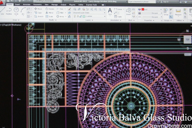Design development and digital drawing of leaded glass dome