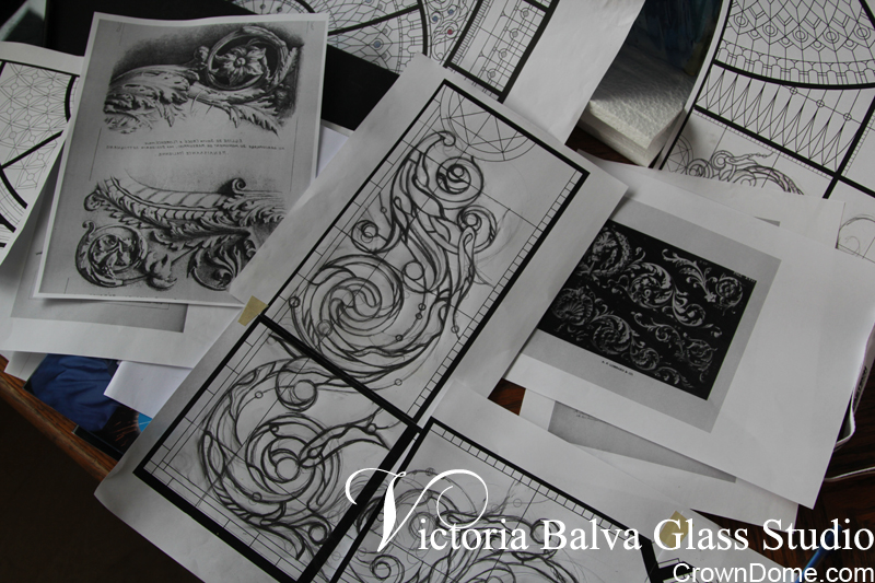 hand drawing sketches of acanthus design elements for a leaded glass ceiling