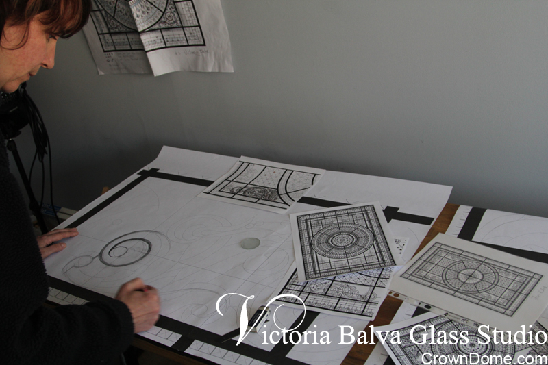 Hand drawing in a scale 1 to 1 of intricate acanthus ornament for large leaded glass dome
