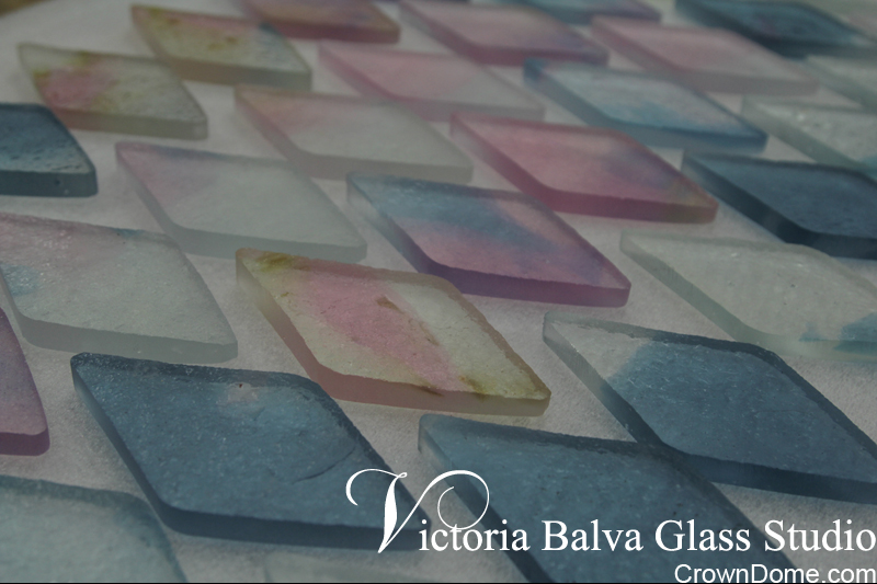 kiln formed glass elements pre-cut for custom beveling