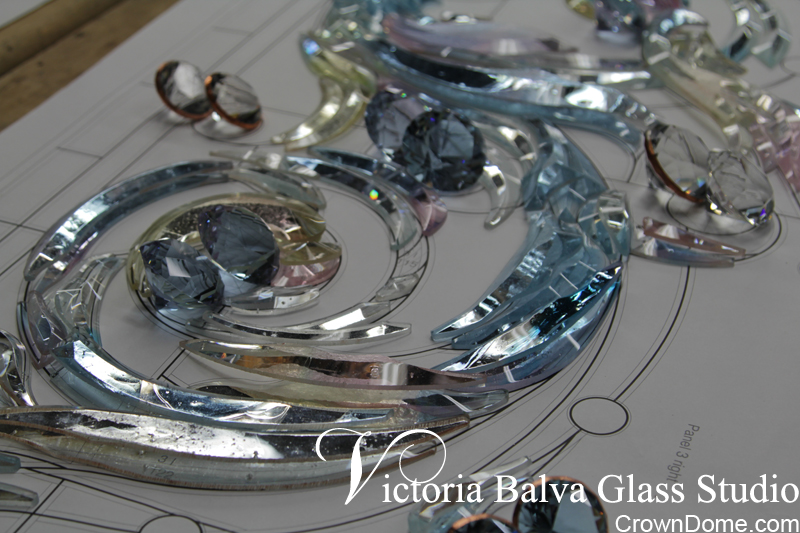 Custom hand bevelled glass for the large leaded glass dome