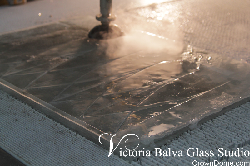 glass water jet cutting for a large leaded glass skylight