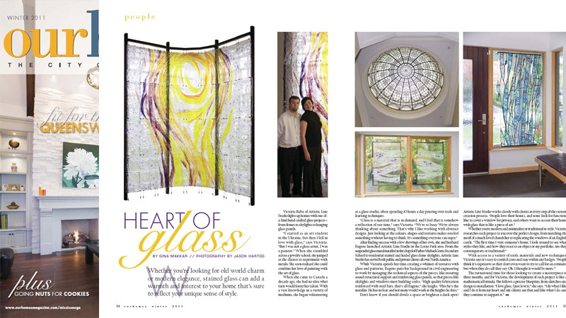 Our Homes Magazine has featured a story Hart of Glass about Victoria Balva and Eugene Bakumenko. Story by Gina Makkar, photography by Jason Hartog.