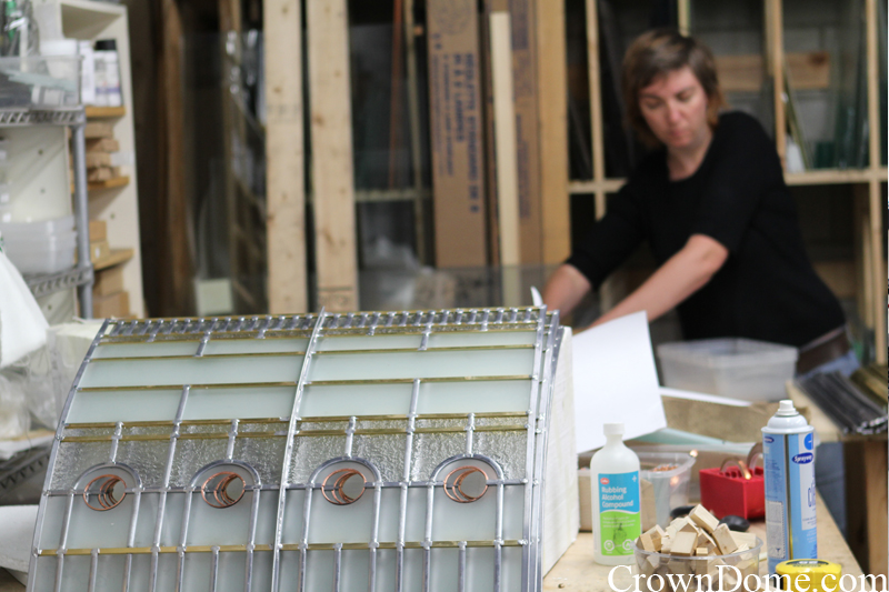 stained and leaded glass panels for the decorative dome curved border