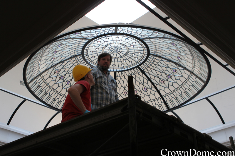stained and leaded glass decorative dome installation