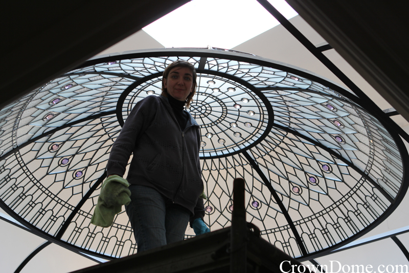 stained and leaded glass decorative dome installation progress