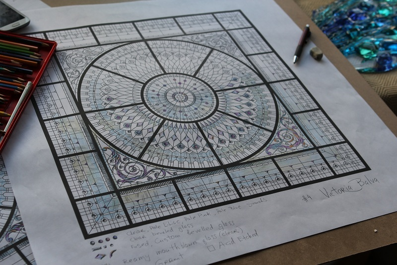 Leaded glass dome with crystal jewels design proposal