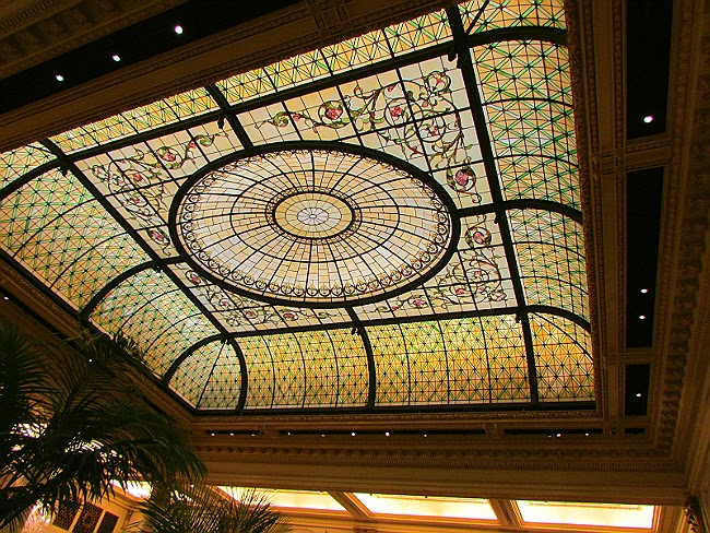 Historical leaded glass skylight ceiling at Plaza Hotel in New York