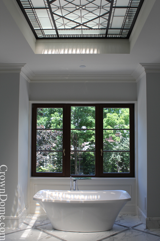 Leaded glass decorative skylight with bevelled glass effects for the bathroom of a private residence in Toronto