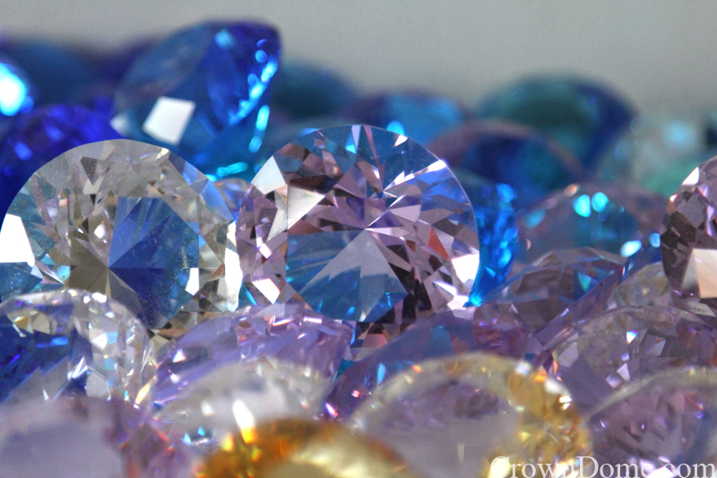 lilac pale amber crystal jewels for stained and leaded glass dome