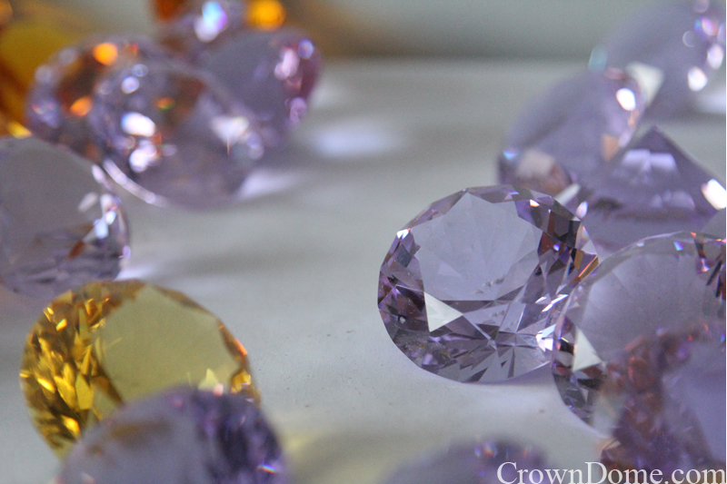 Crystal jewels for the domed leaded glass skylight