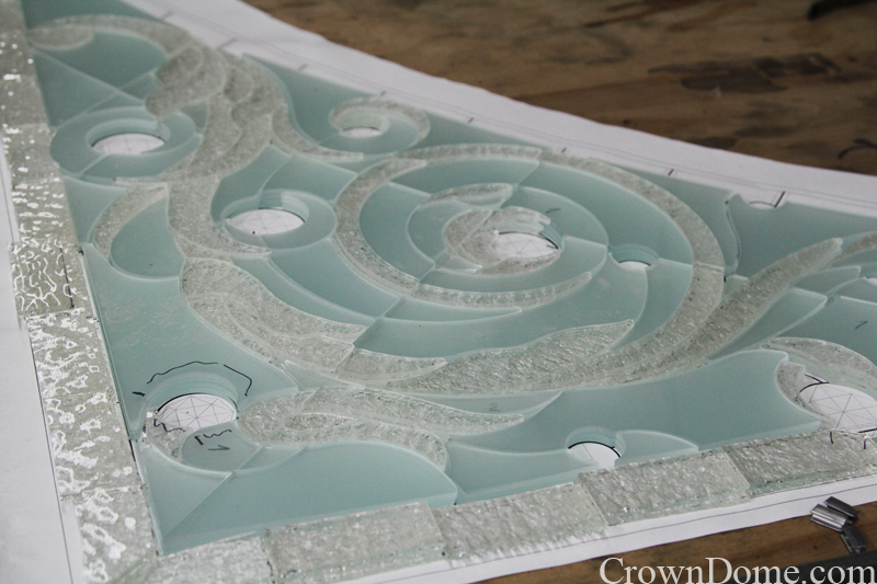 water jet cut glass for the decorative glass skylight dome