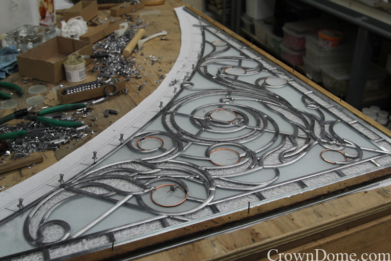 Leaded glass panel assembled and ready to solder for the decorative glass dome