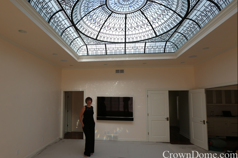 Victoria Balva - architectural glass artist . leaded glass dome with custom bevelled glass and crystal jewels installation