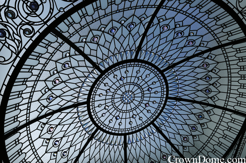 In a daylight dome. leaded glass dome with custom bevelled glass and crystal jewels installation