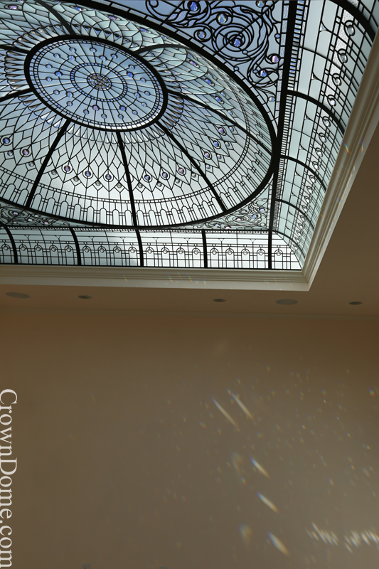 In a daylight leaded glass dome.