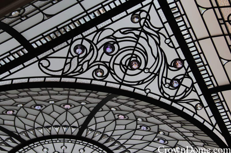 Acanthus detail. leaded glass dome with custom bevelled glass and crystal jewels installation