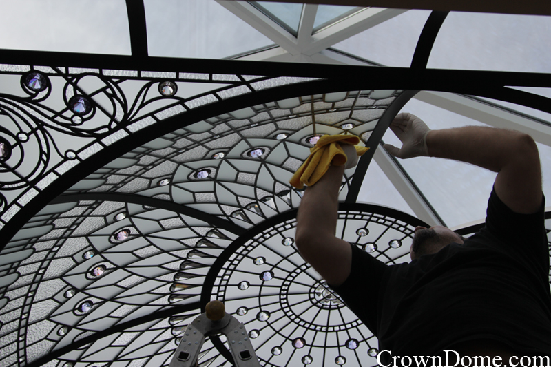 glass panels installation of a large leaded glass dome