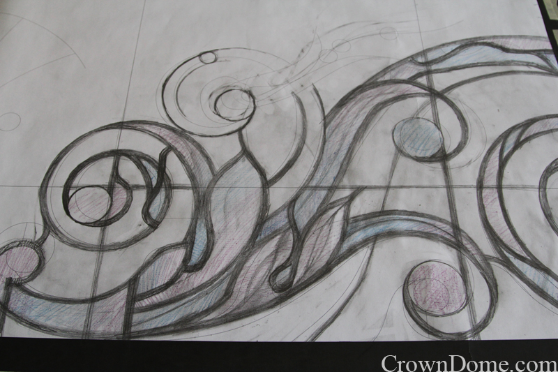 Hand drawing of acanthus ornamental element for a large leaded glass skylight