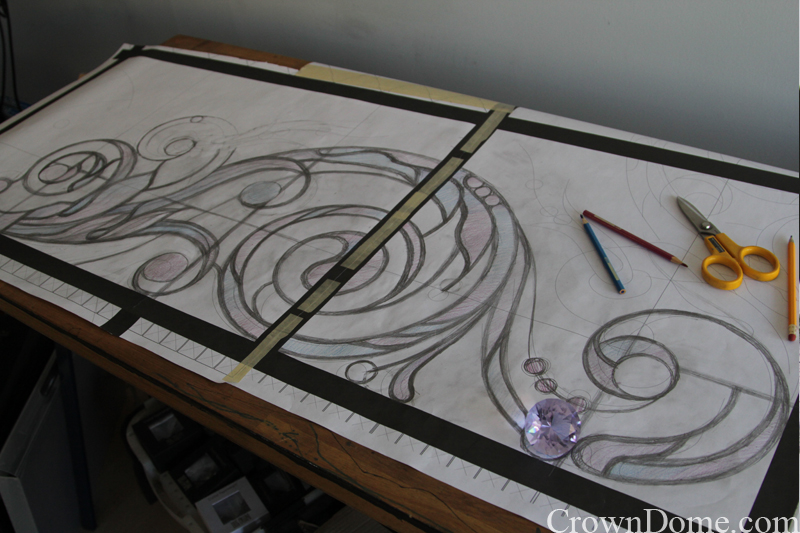 Hand drawing of acanthus ornament for a large leaded glass skylight