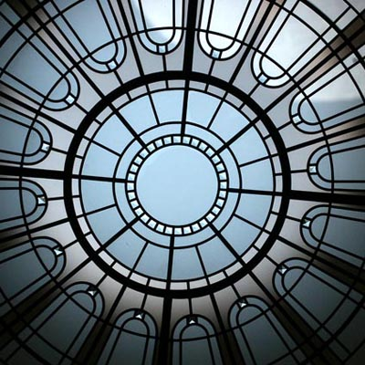 Stained And Leaded Sircular Decorative Glass Skylight