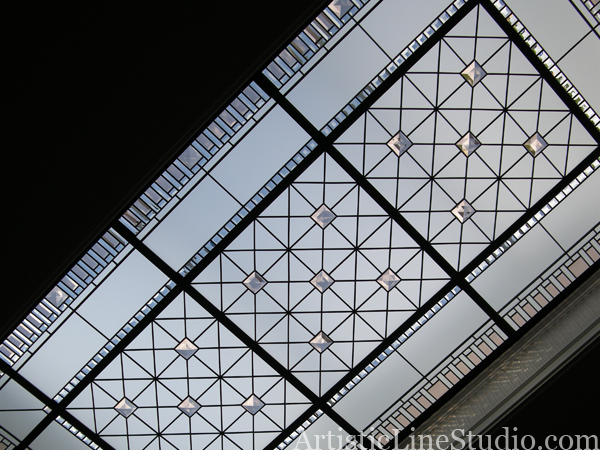 leaded glass skylight with clear acid, colored  beveled glass and custom made jewels