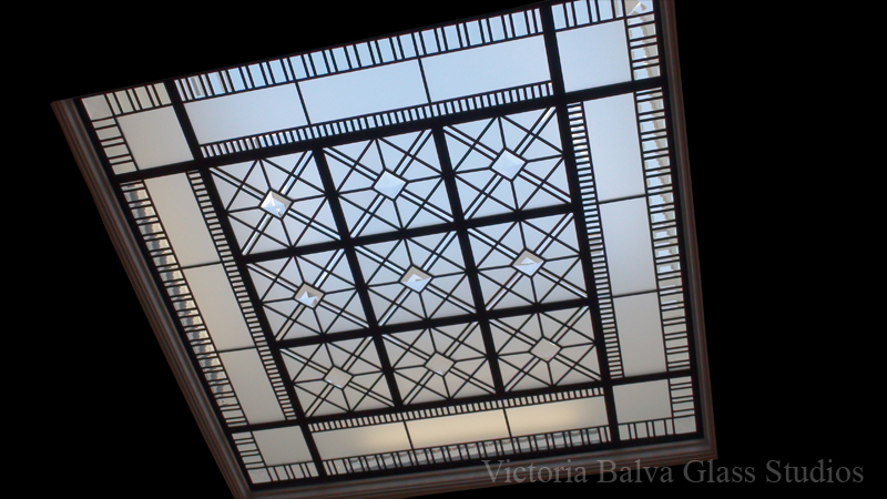 Stained and leaded glass flat ornamental ceiling with clear acid, beveled glass and crystals