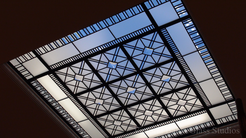 Stained and leaded glass skylight with extra large custom crystal jewels