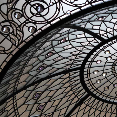 Classic leaded glass dome with crystal jewels.