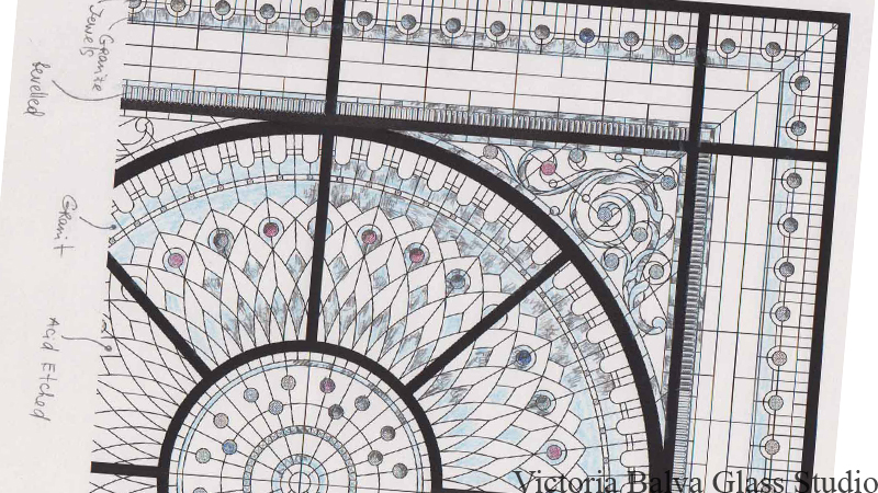 Finished confirmed sketch of the decorative dome skylight ceiling with marked glass selection