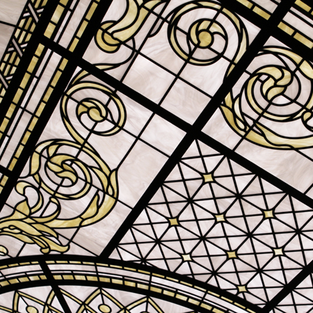 Ornamental glass ceiling with opal textured glass