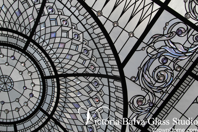 Leaded glass dome with acanthus bevelled glass ornament and crystal accent jewels