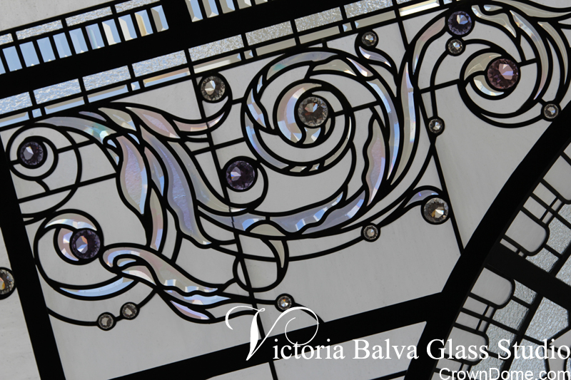 Colored custom made bevelled glass acanthus ornament with crystal jewels for a large leaded glass dome