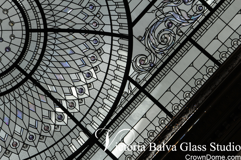 Leaded glass large dome with ornamental scroll