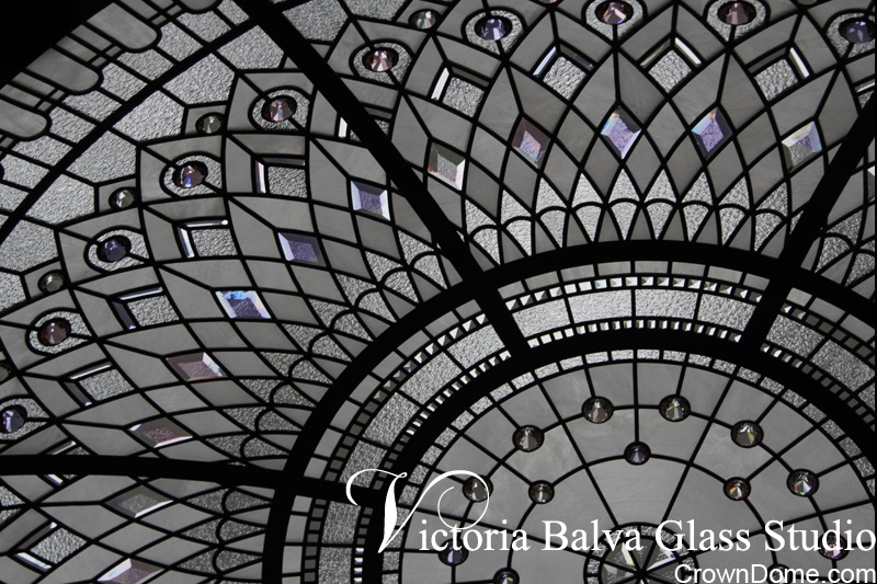 leaded glass dome with elusive colours of custom bevelled glass and crystal jewels