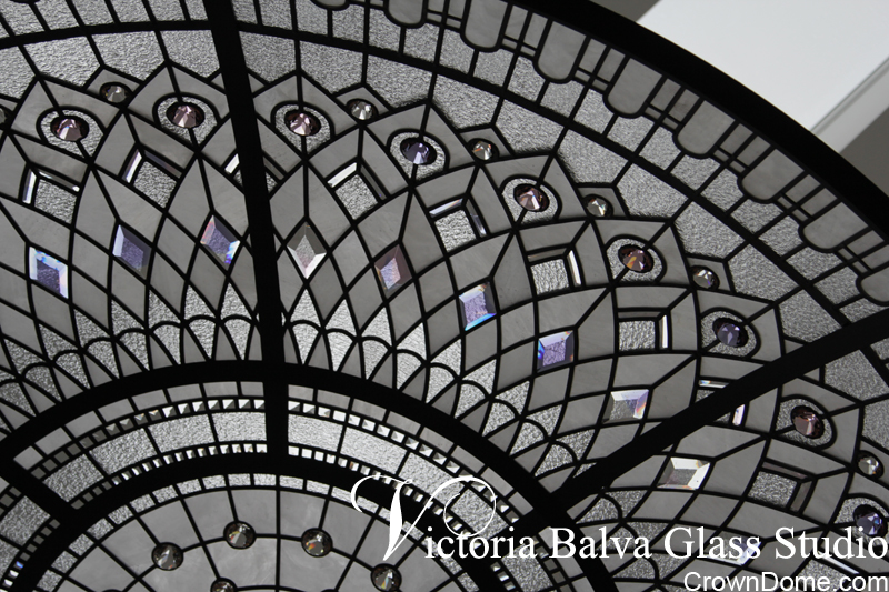 leaded glass dome with delicate colours of custom bevelled glass