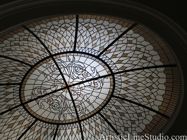 stained and leaded glass large oval dome for a hallway of a private residence