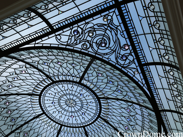 leaded glass dome with colored crystal jewels and clear textured glass and custom beveling