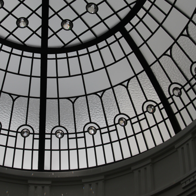 The Tri-City - oval leaded glass dome