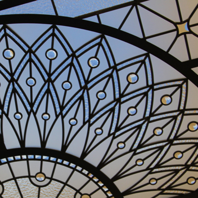 Lyra - raised rectengular leaded glass skylight
