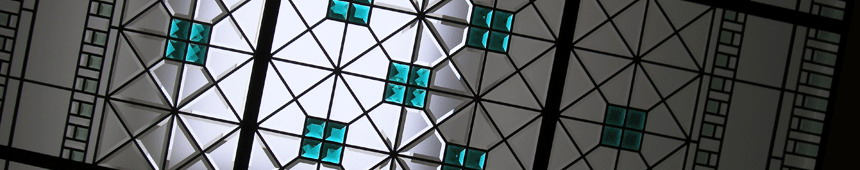 stained and leaded glass decorative skylight with emerald glass crystals and custom made beveled glass