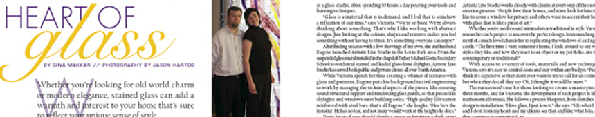 Our Homes Magazine has featured a story about Victoria Balva Glass Studio