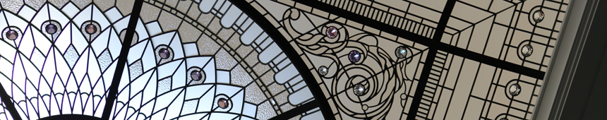 leaded glass dome with colored crystal glass
