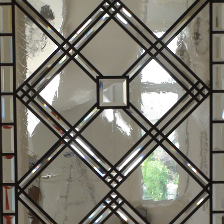 Pia; Leaded Glass Door Insert With Clear Beveled And Avtique Glass
