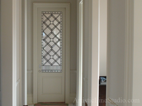 Stained And Leaded Glass Doorlight Linda With Crystal