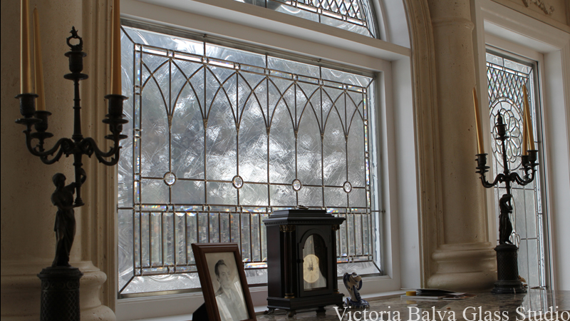Stained and leaded glass for family room with fireplace