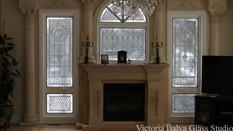 Stained and leaded glass family room window in classic inspared style