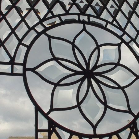 classic style stained glass windows with clear beveled glass