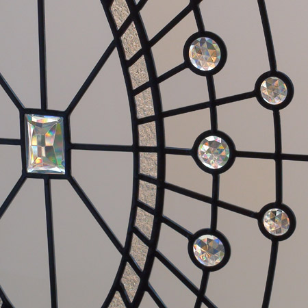 leaded glass oval window with glass crystal and acid etched glass